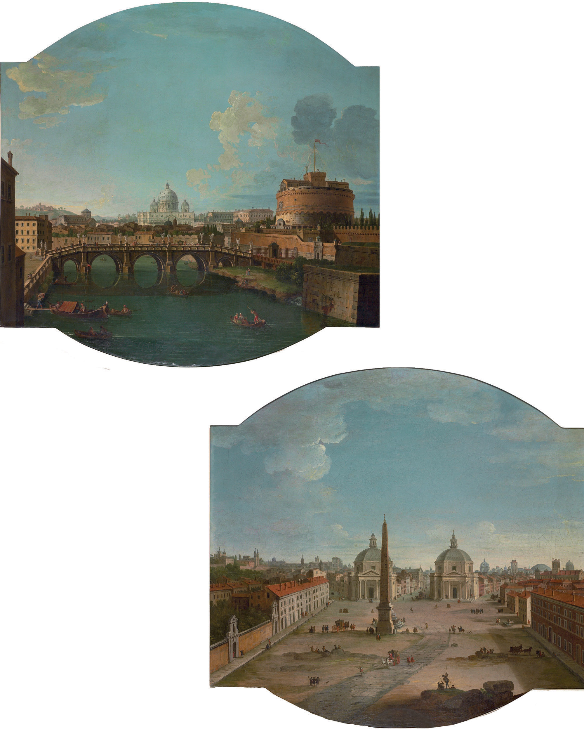 View of Piazza del Popolo, Rome; and View of the Ponte Sant'Angelo and Castel Sant'Angelo, with Saint Peter's Basilica beyond, Rome