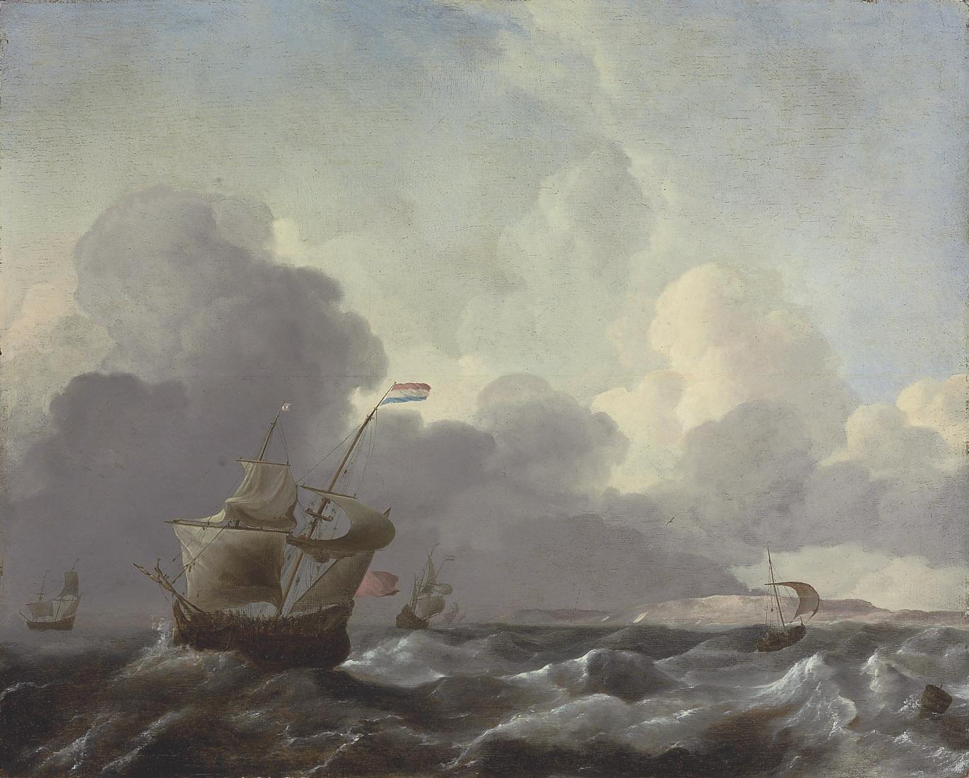 Dutch man-of-war in stormy waters