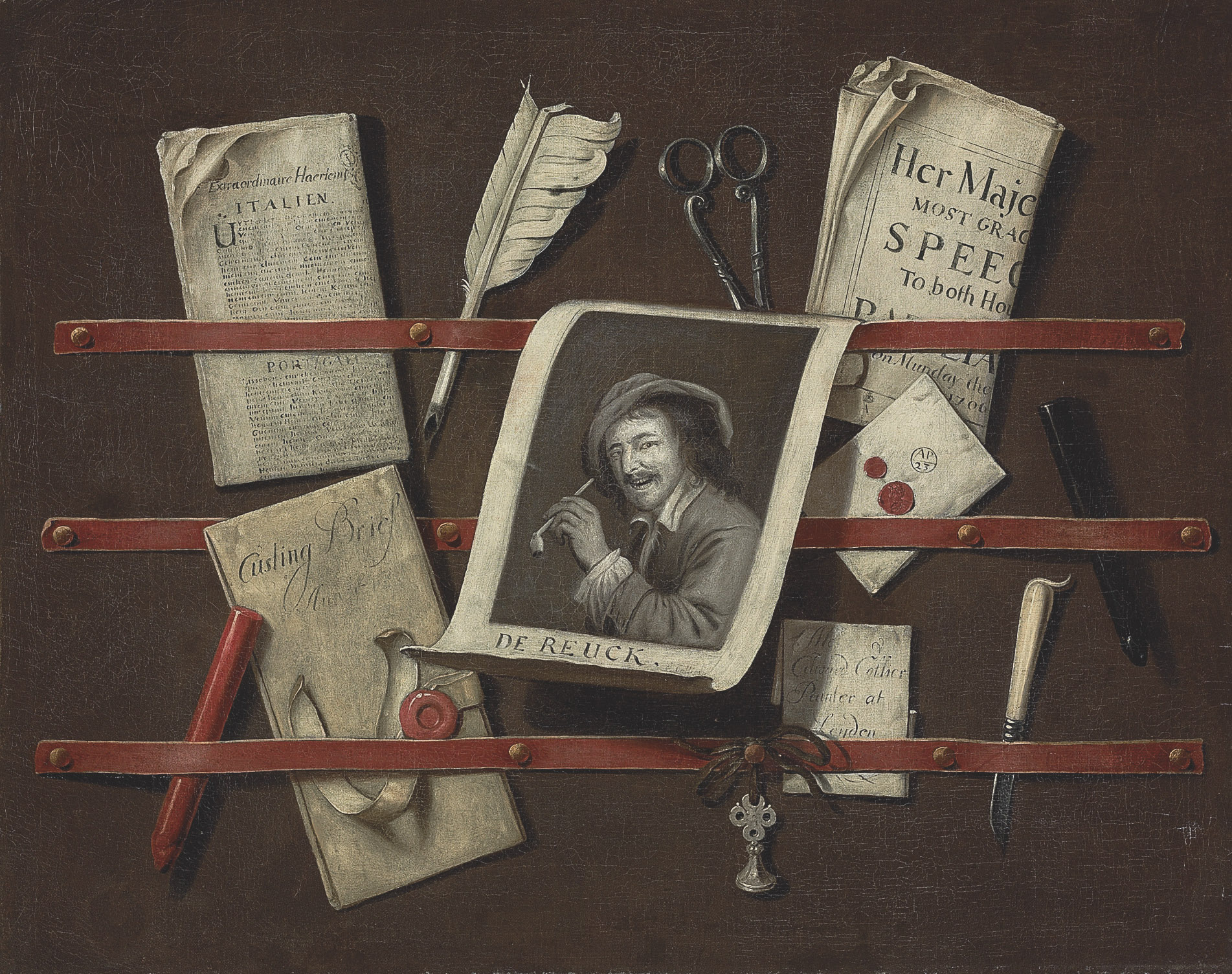 A trompe l'oeil still life of a letter rack - an engraving, a Dutch and an English newspaper, sealed letters, a feather quill, red and black sealing wax, a silver seal, scissors and a pen knife