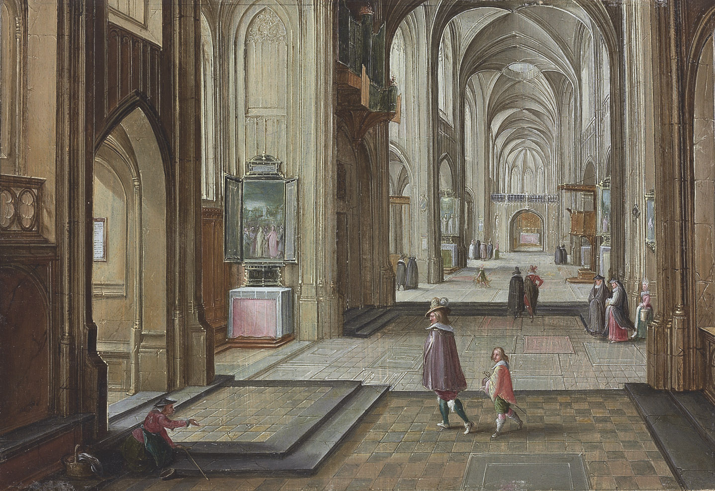 The interior of a gothic cathedral, with elegant figures