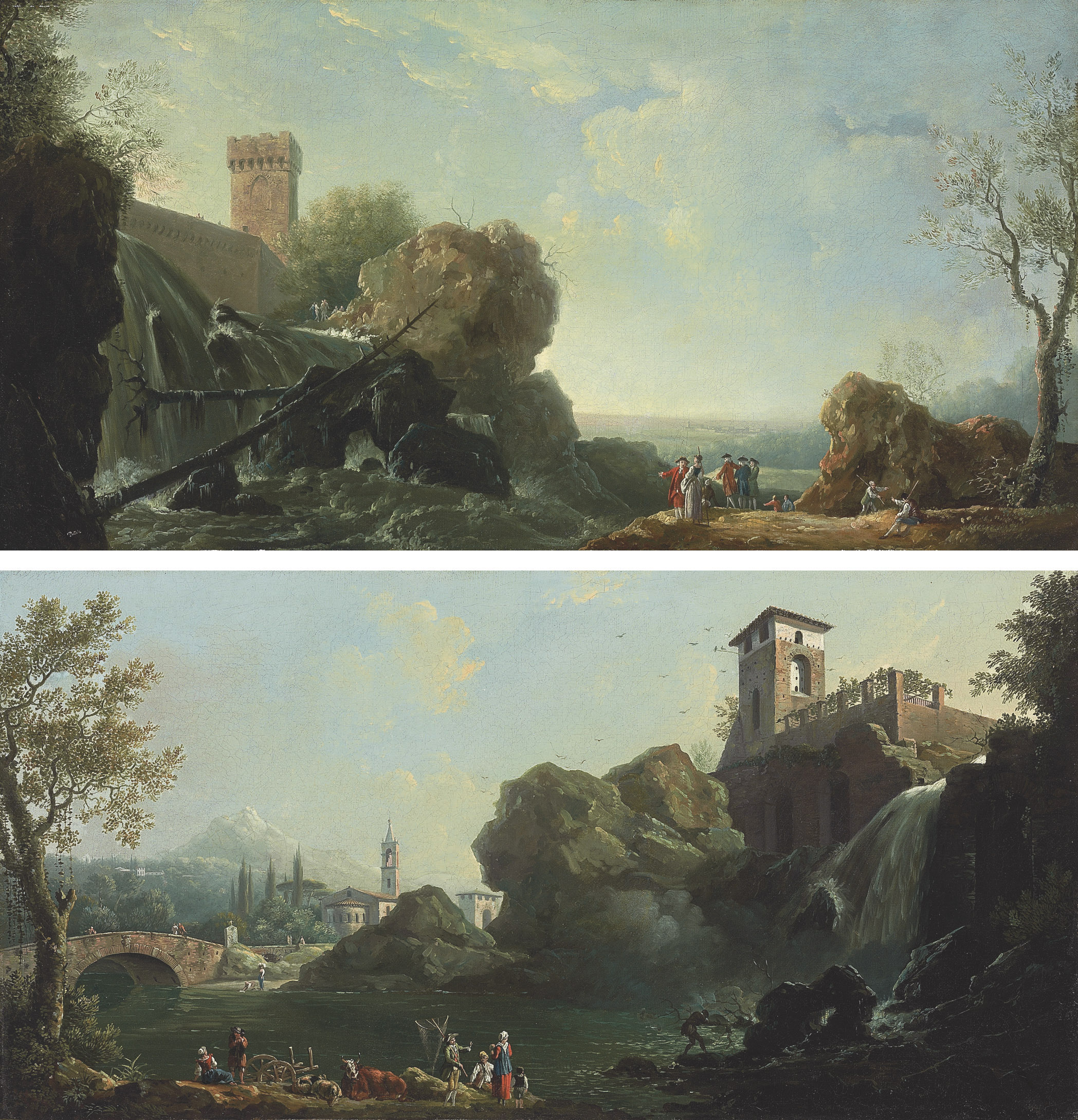 An Italianate landscape with elegant figures by a waterfall; and An Italianate river landscape with fishermen, a church and a bridge beyond