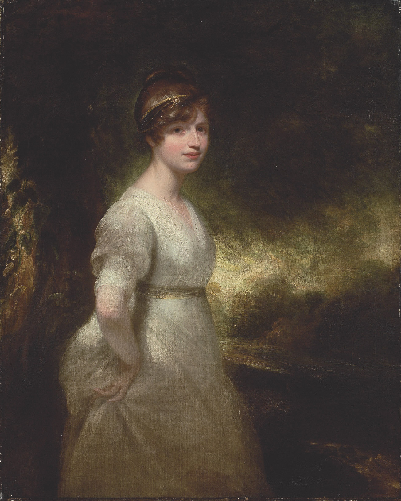 Portrait of Lady Godolphin, three-quarter-length, in a white dress and a jewelled headband