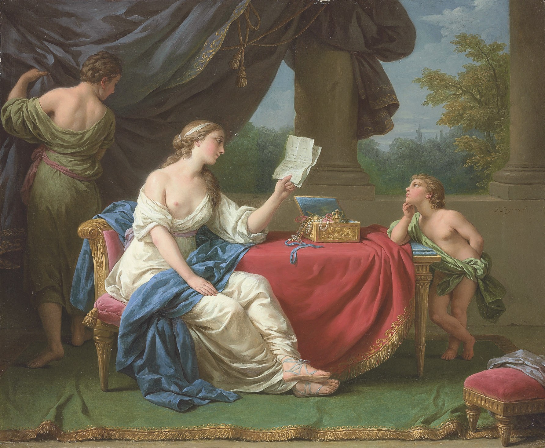 Penelope reading a letter from Odysseus