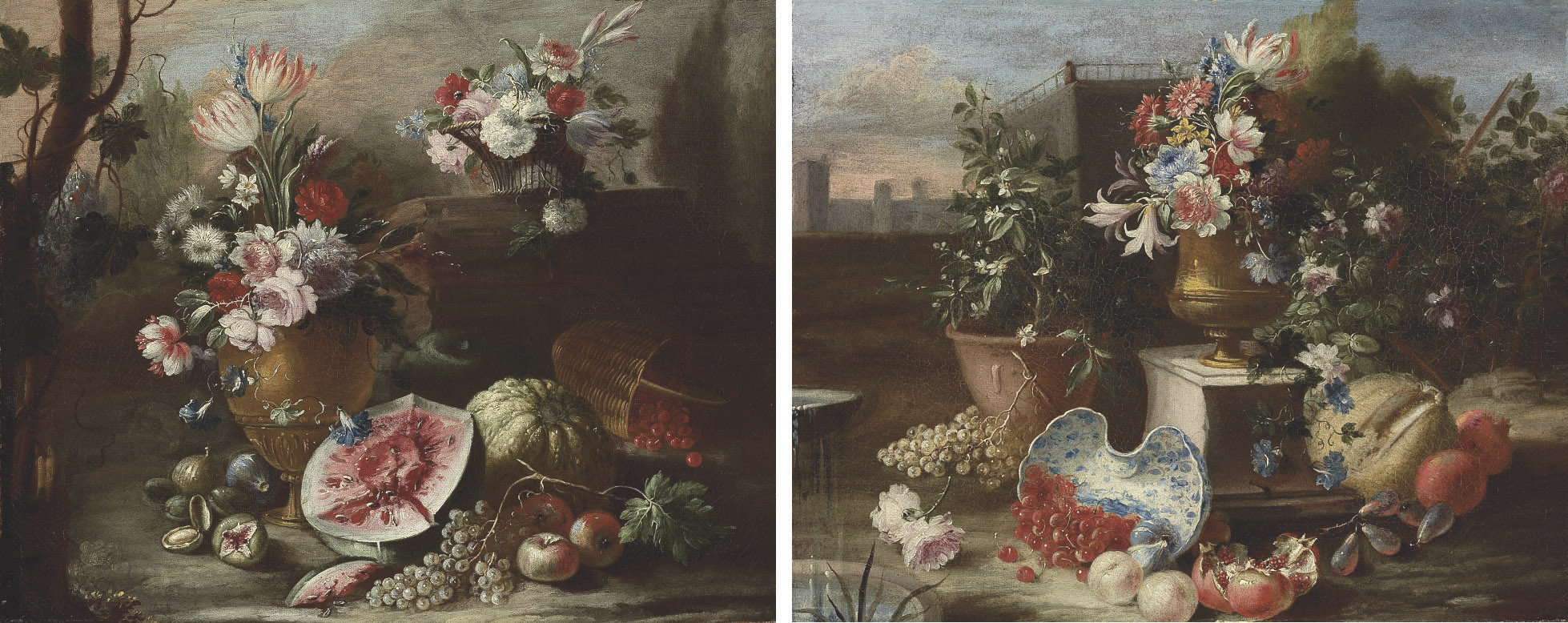 Tulips, roses, figs, grapes, a melon and cherries, with other flowers and fruit, in a landscape; and Tulips, roses, lilies, figs, cherries, grapes and pomegranate, by a fountain