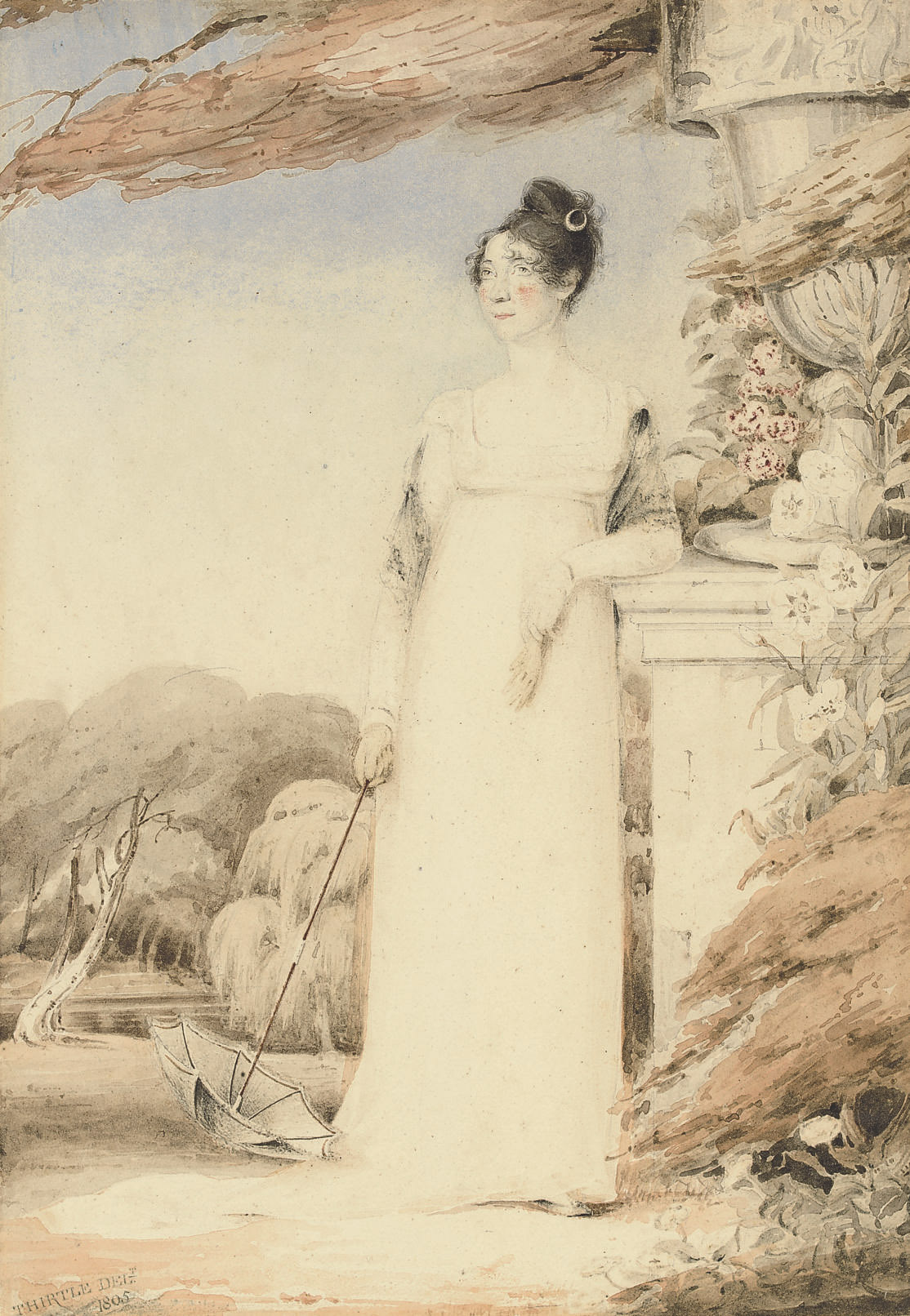 Portrait of Ann Miles, later Mrs. John Sell Cotman, full-length, her right hand holding a parasol, her left arm resting on a plinth