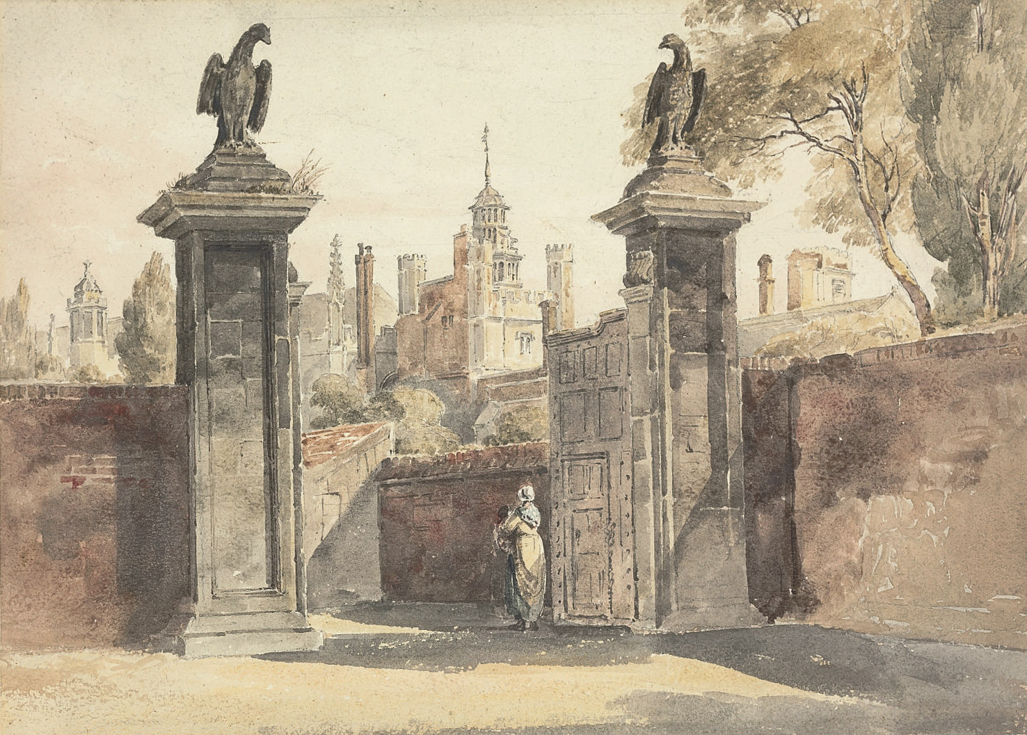 View of the gates of St John's College, Cambridge with Trinity College beyond