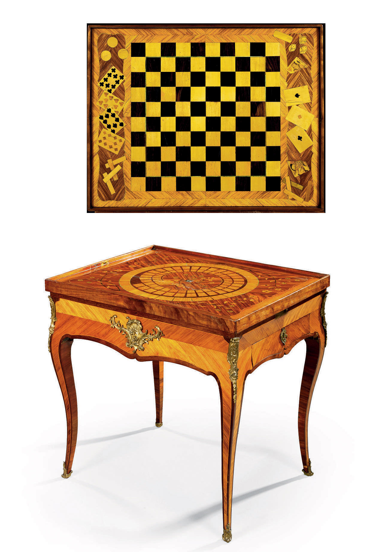 A LOUIS XV ORMOLU-MOUNTED EBONY AND IVORY-INLAID TULIPWOOD, AMARANTH AND PARQUETRY GAMES TABLE