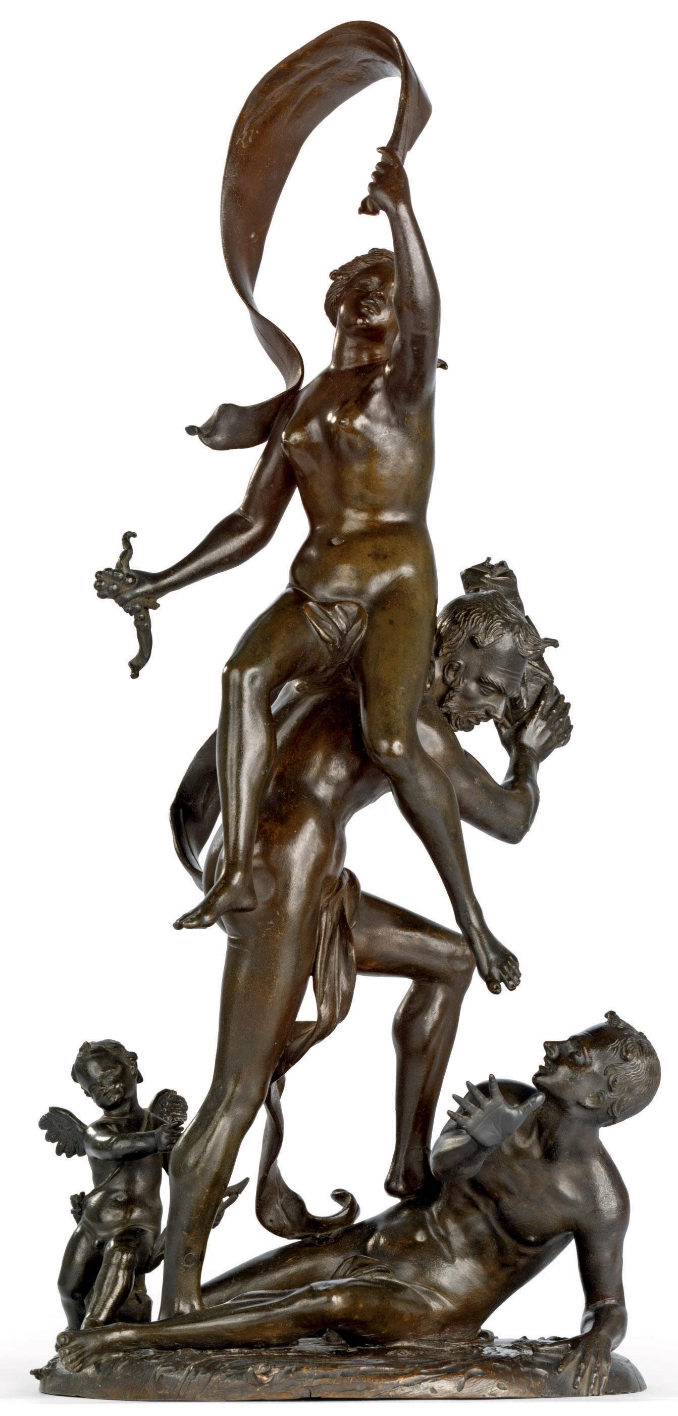A BRONZE ALLEGORICAL GROUP OF FORTUNE AND CUPID ATTENDING AN ASSASSINATION