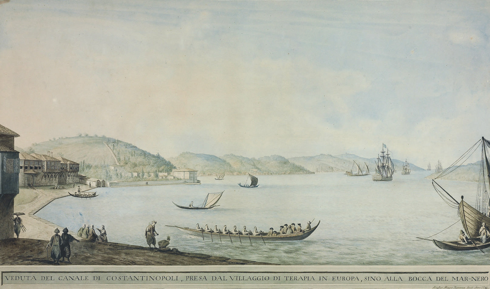 View of the canal of Constantinople, from the village of Terapia up to the mouth of the Black Sea
