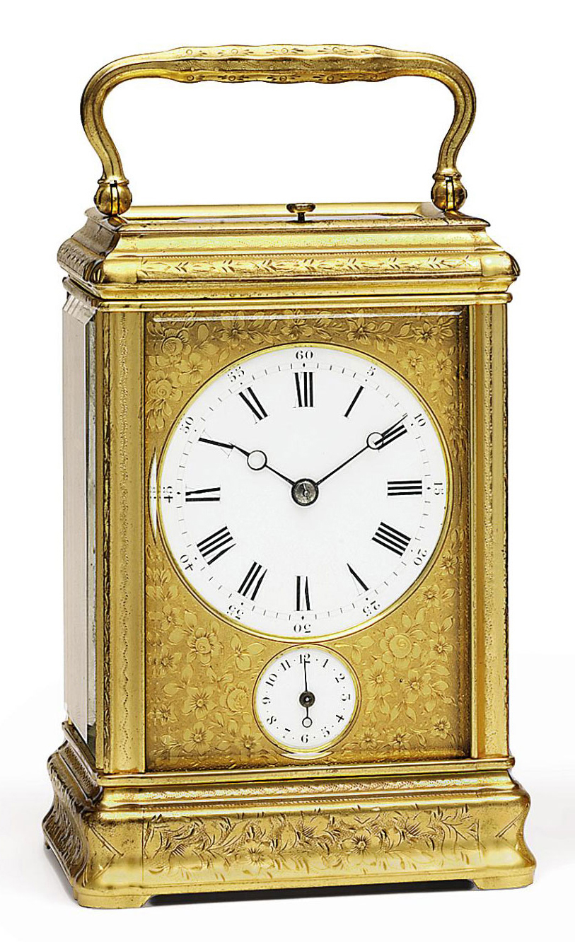 A FRENCH ENGRAVED GILT-BRASS GRANDE SONNERIE CARRIAGE CLOCK WITH ALARM