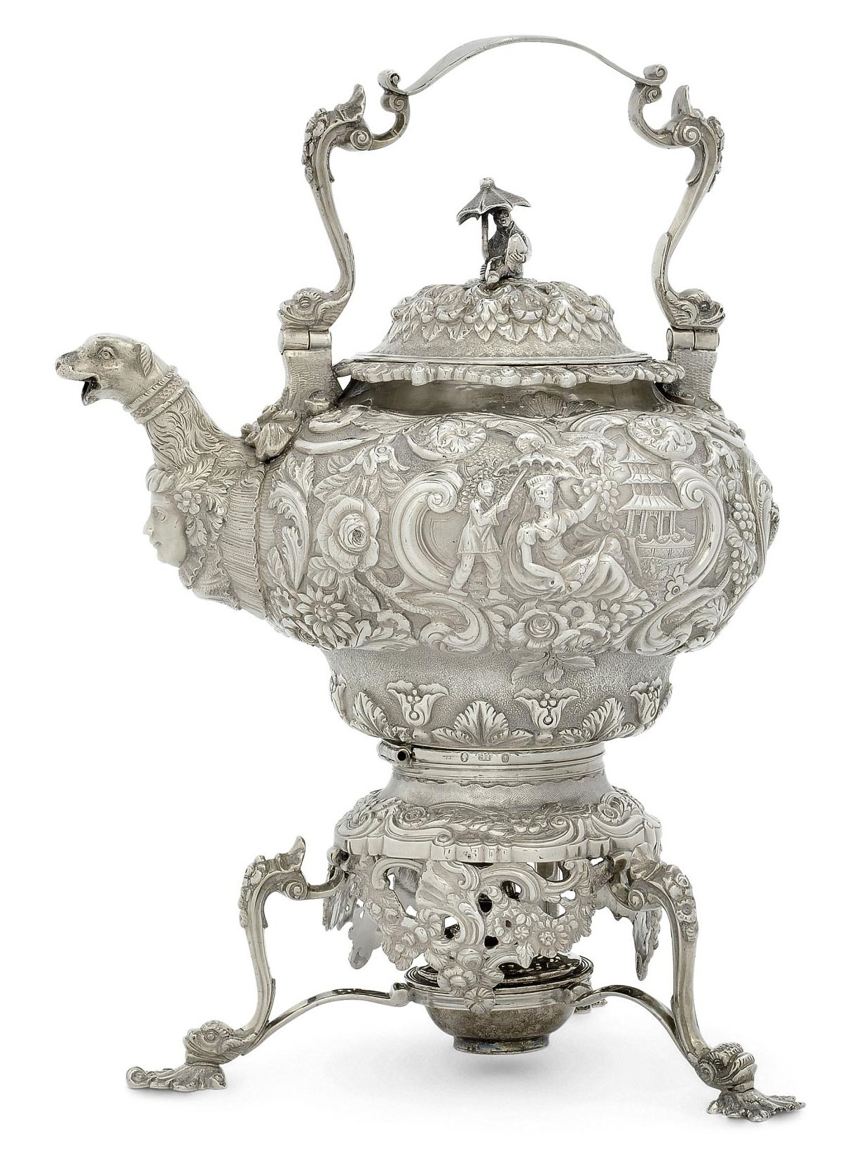 A GEORGE IV IRISH SILVER KETTLE AND STAND