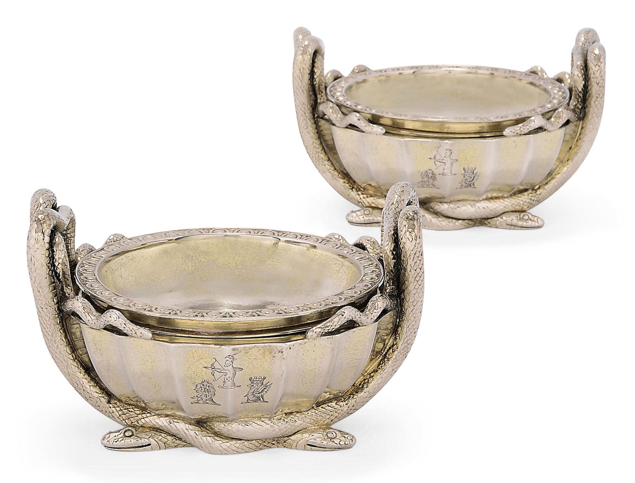 A PAIR OF GEORGE IV SILVER SALT-CELLARS WITH GEORGE III SILVER LINERS