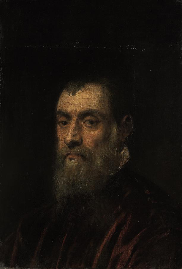 Portrait of a bearded man, bust-length, in a red gown