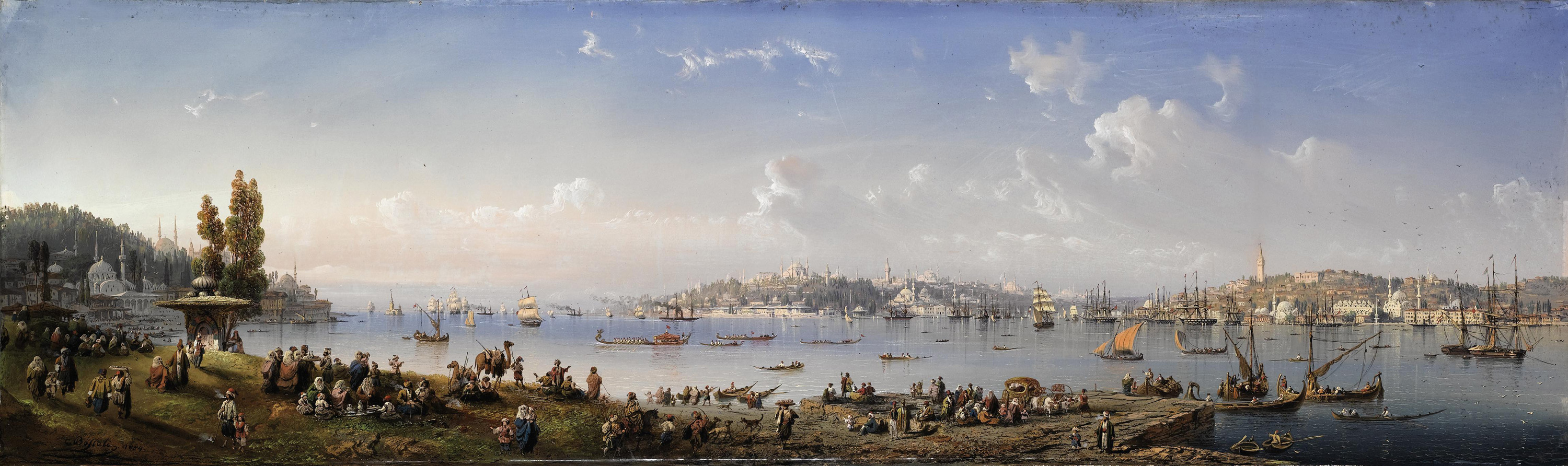 A panorama of Constantinople from Uskudar