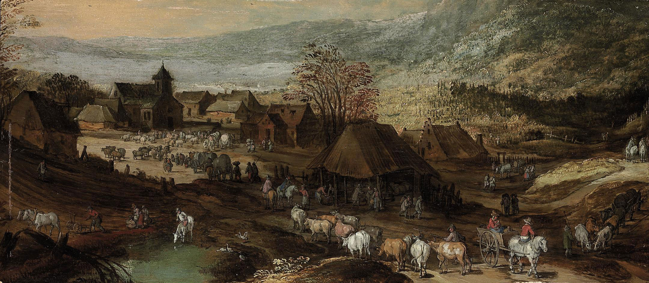 A village with figures, cattle and horses, mountains beyond