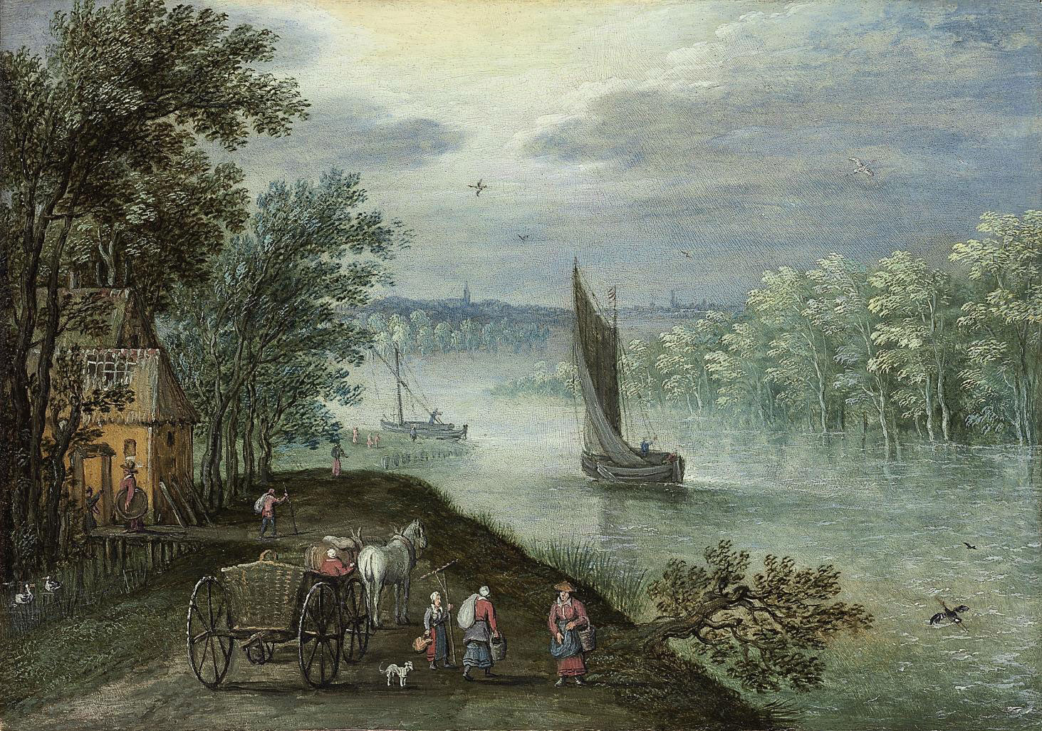 A wooded, river landscape with a sailing boat, figures with a horse and cart on a track in the foreground