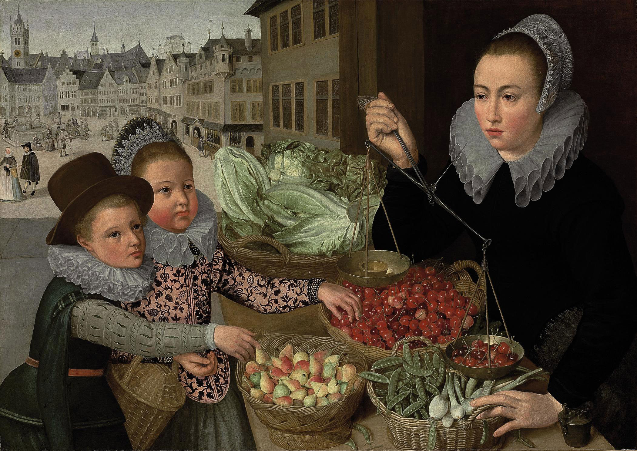A market stand selling pears, cherries, peas, leeks and lettuce, with two elegantly-dressed children, a view of a Frankfurt beyond