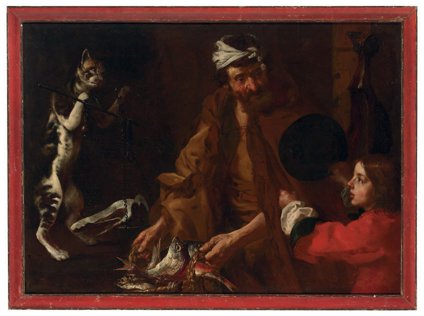 A fishmonger with a boy and a cat weighing ham