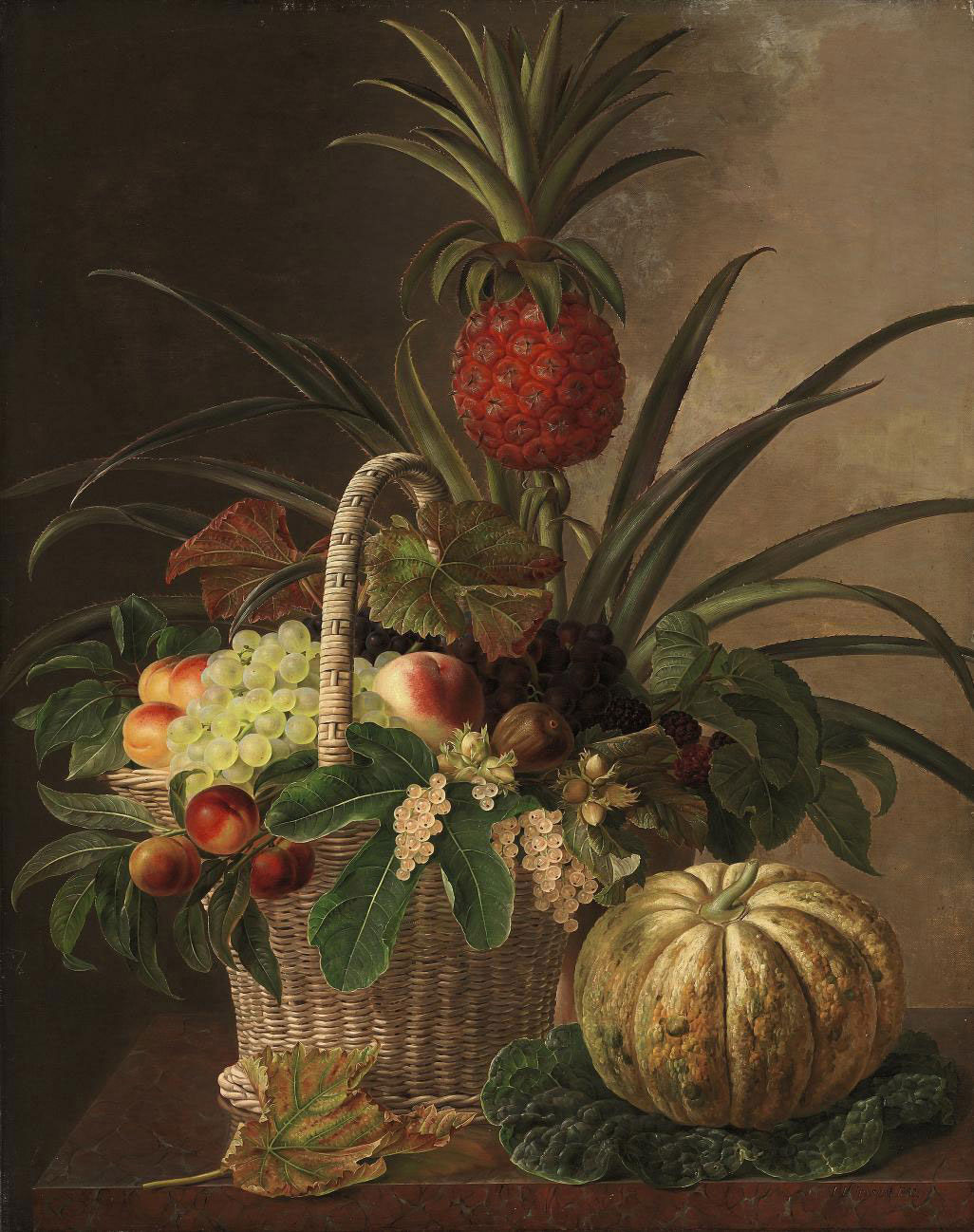 Pineapple, grapes, peaches, nuts, and berries in a basket, on a marble ledge