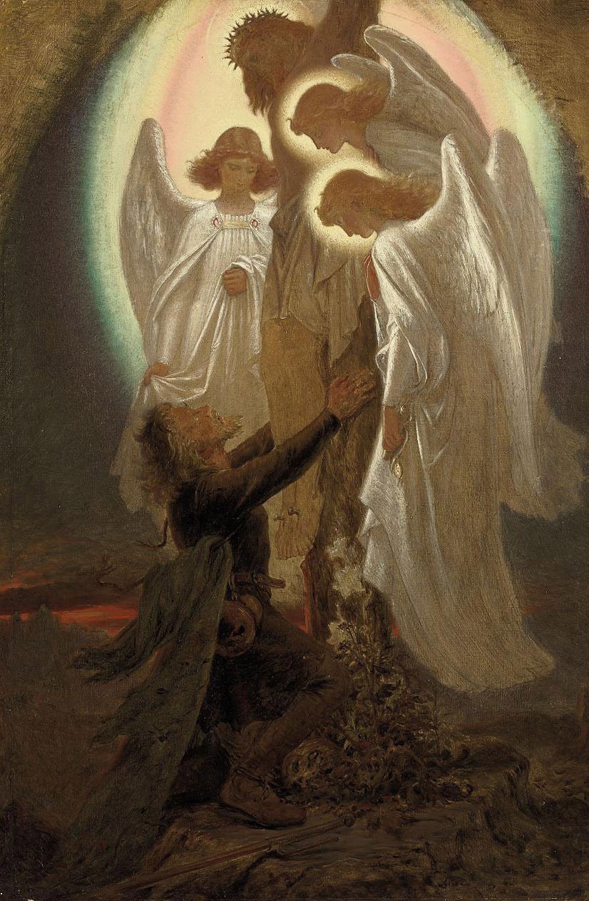 Christian at the foot of the cross - Pilgrim's Progress