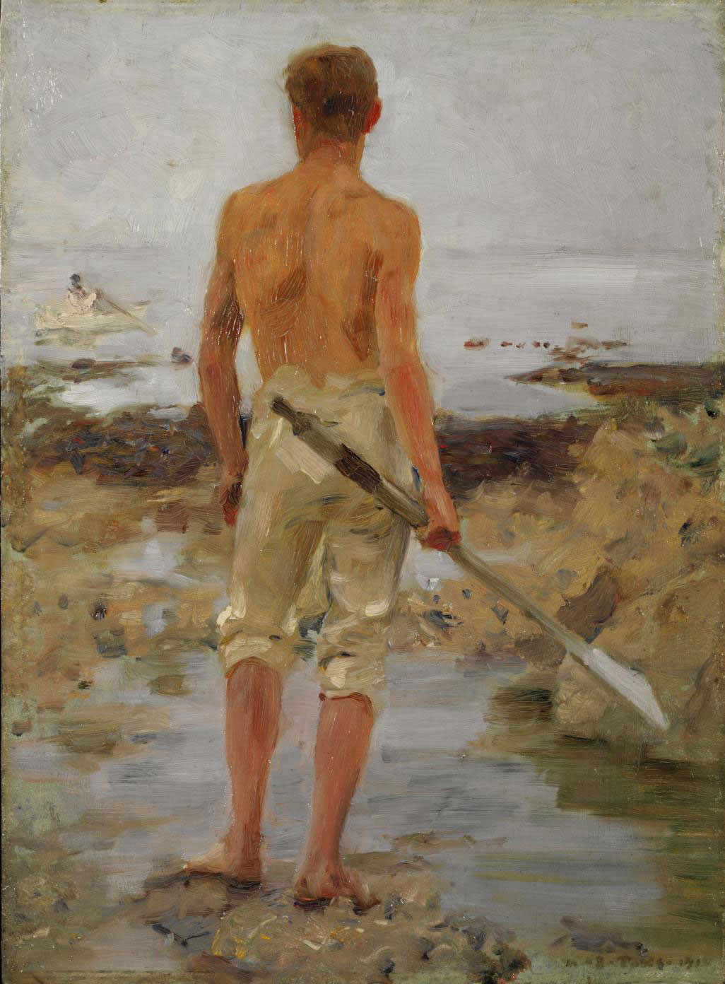 A boy with an oar