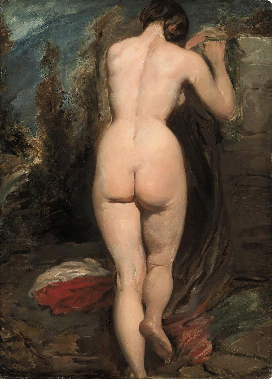 Female nude, seen from behind, leaning on a rock