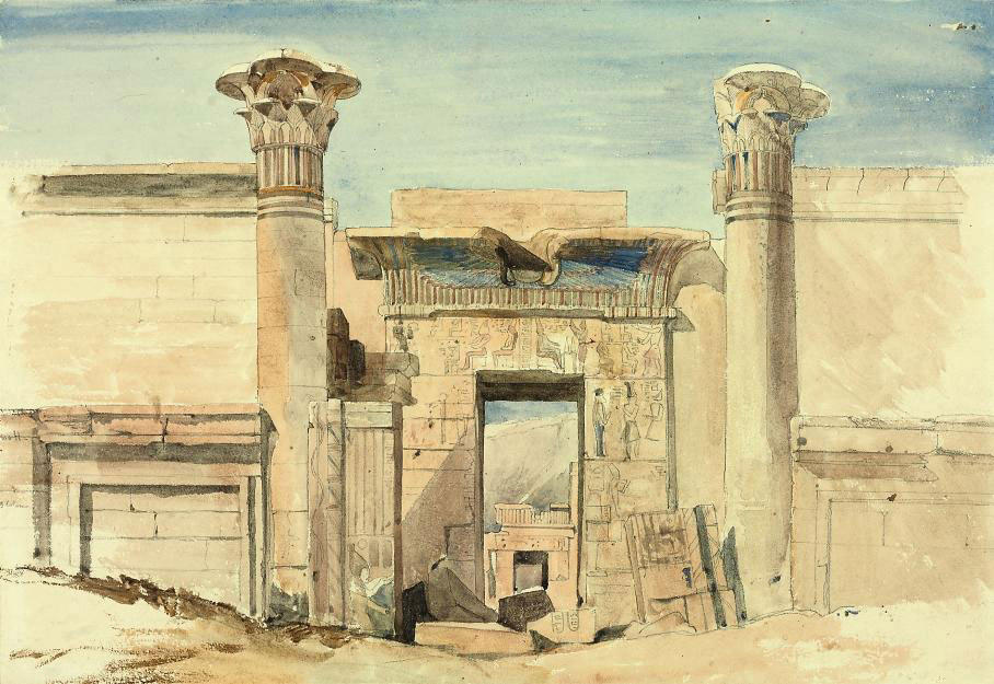 The entrance to the small temple at Medinet Habu, Luxor, Egypt (recto); and with subsidiary sketches (verso)