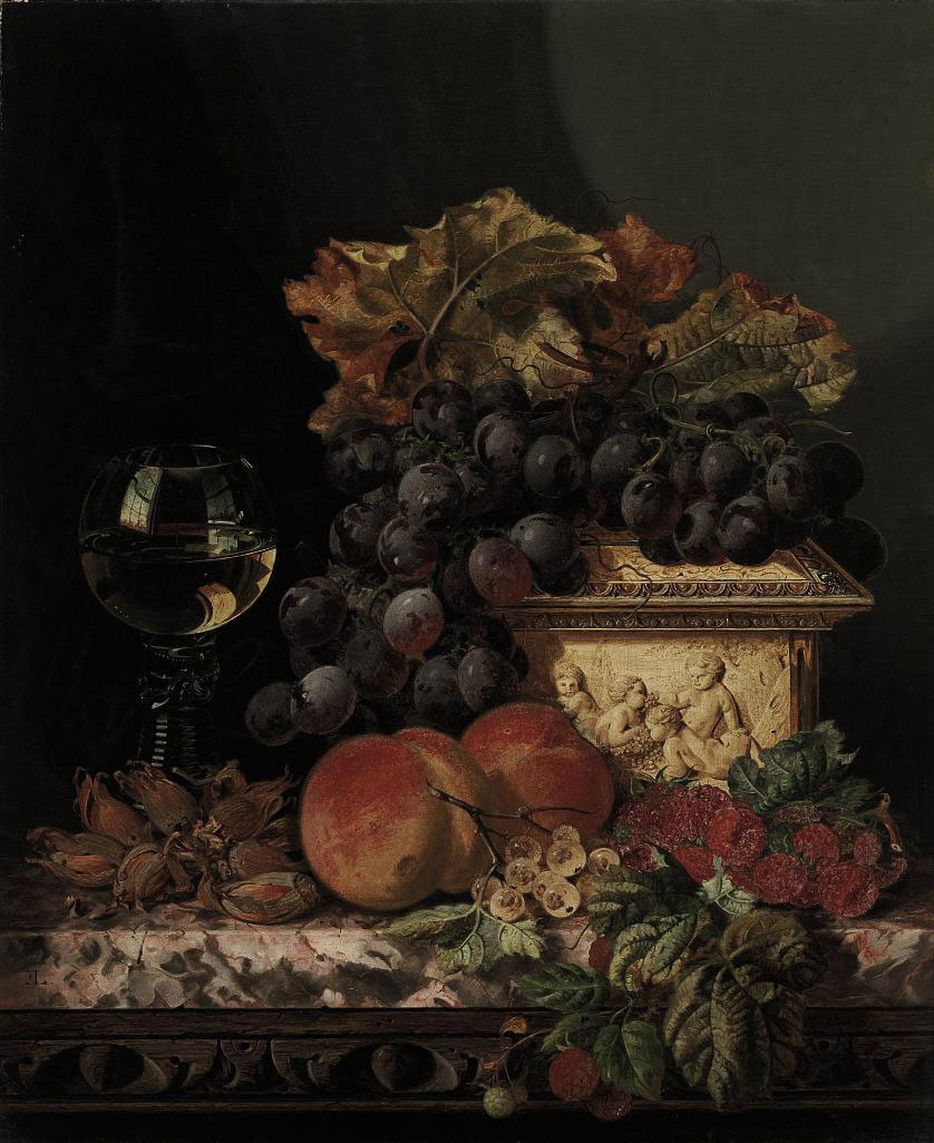 Grapes, peaches, raspberries, cob nuts, with a casket and a roemer on a marble ledge
