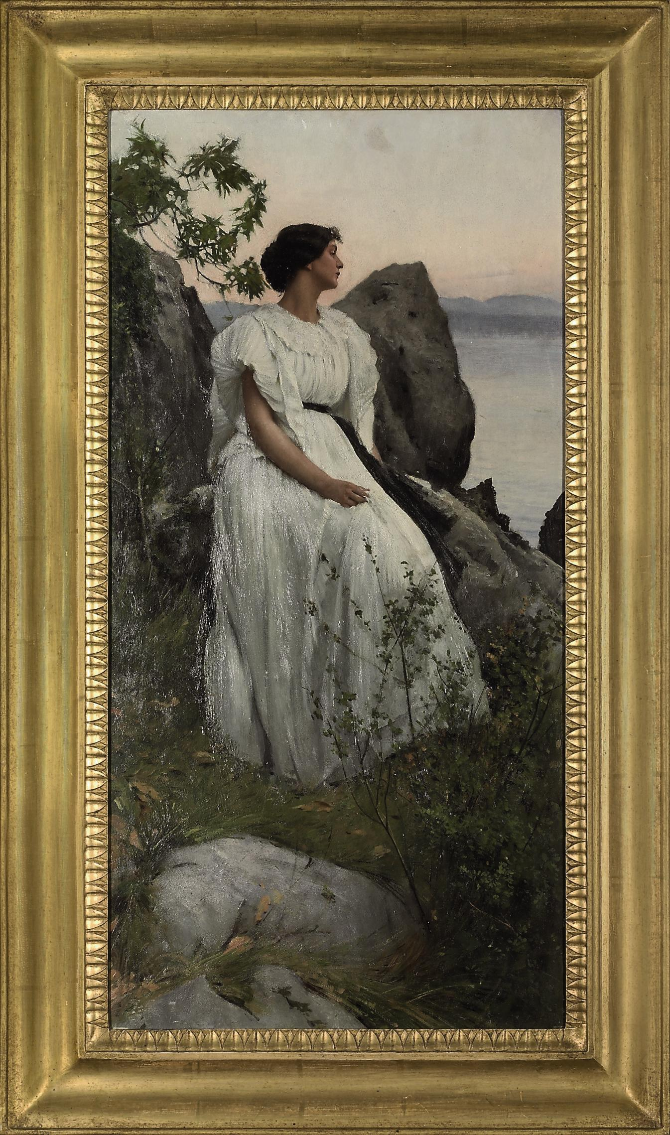 Lady in white at a lakeside
