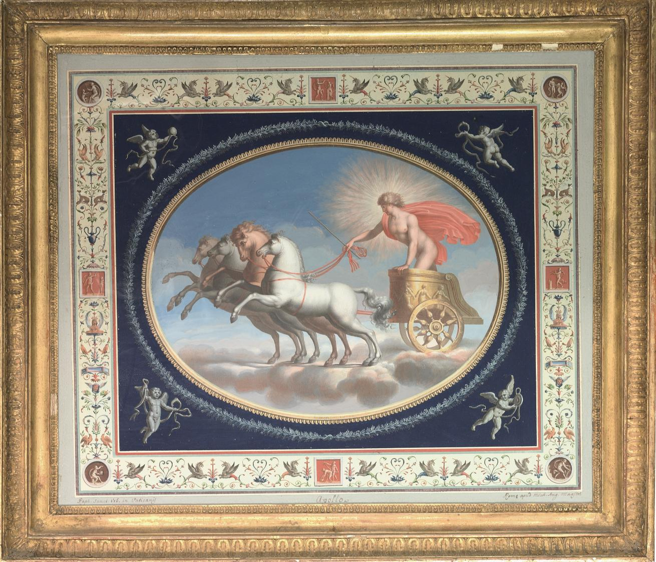 A set of four decorative panels showing Apollo, Mars, Venus and Mercury in chariots, surrounded by Pompeian grotesques