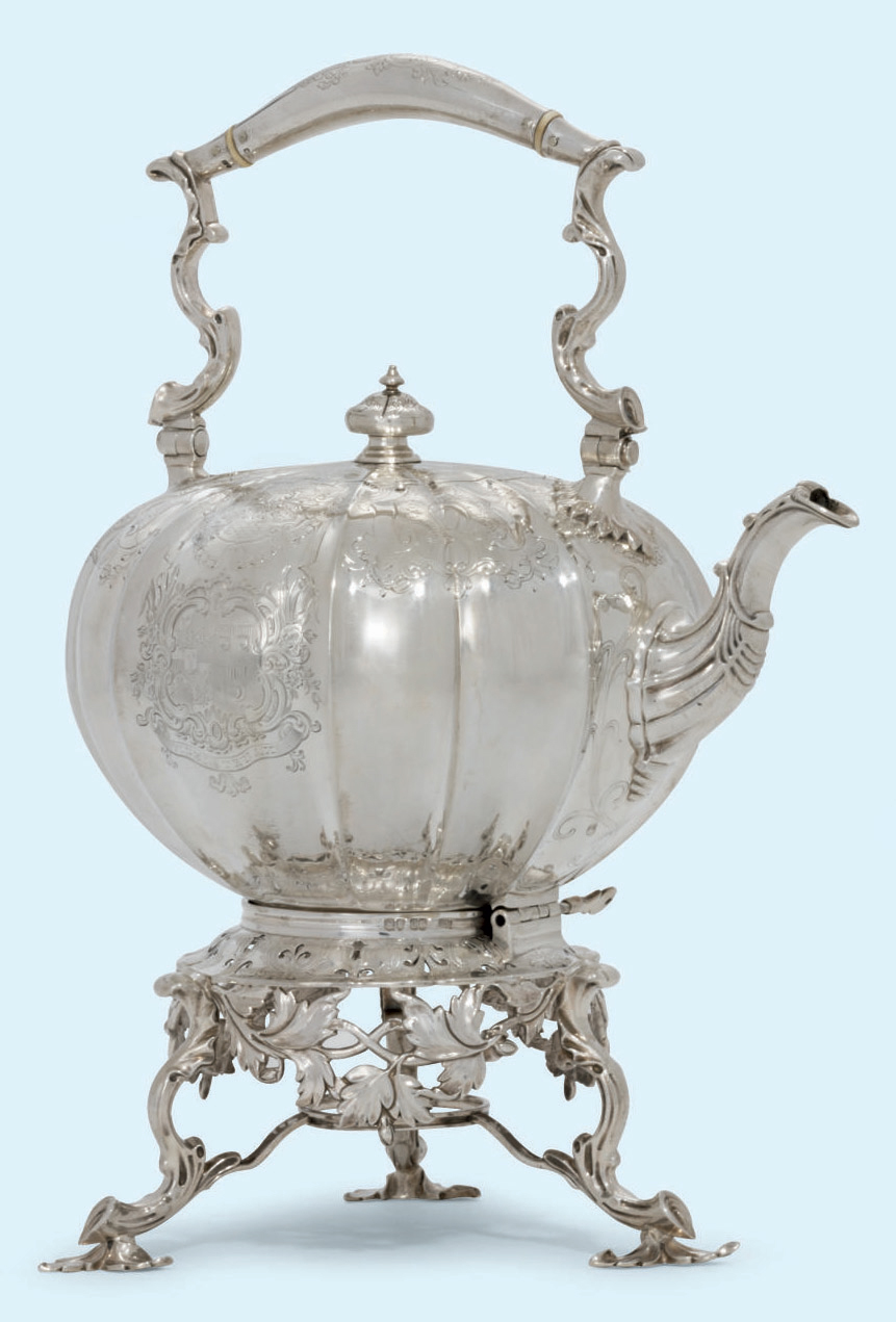 A VICTORIAN SILVER KETTLE AND STAND