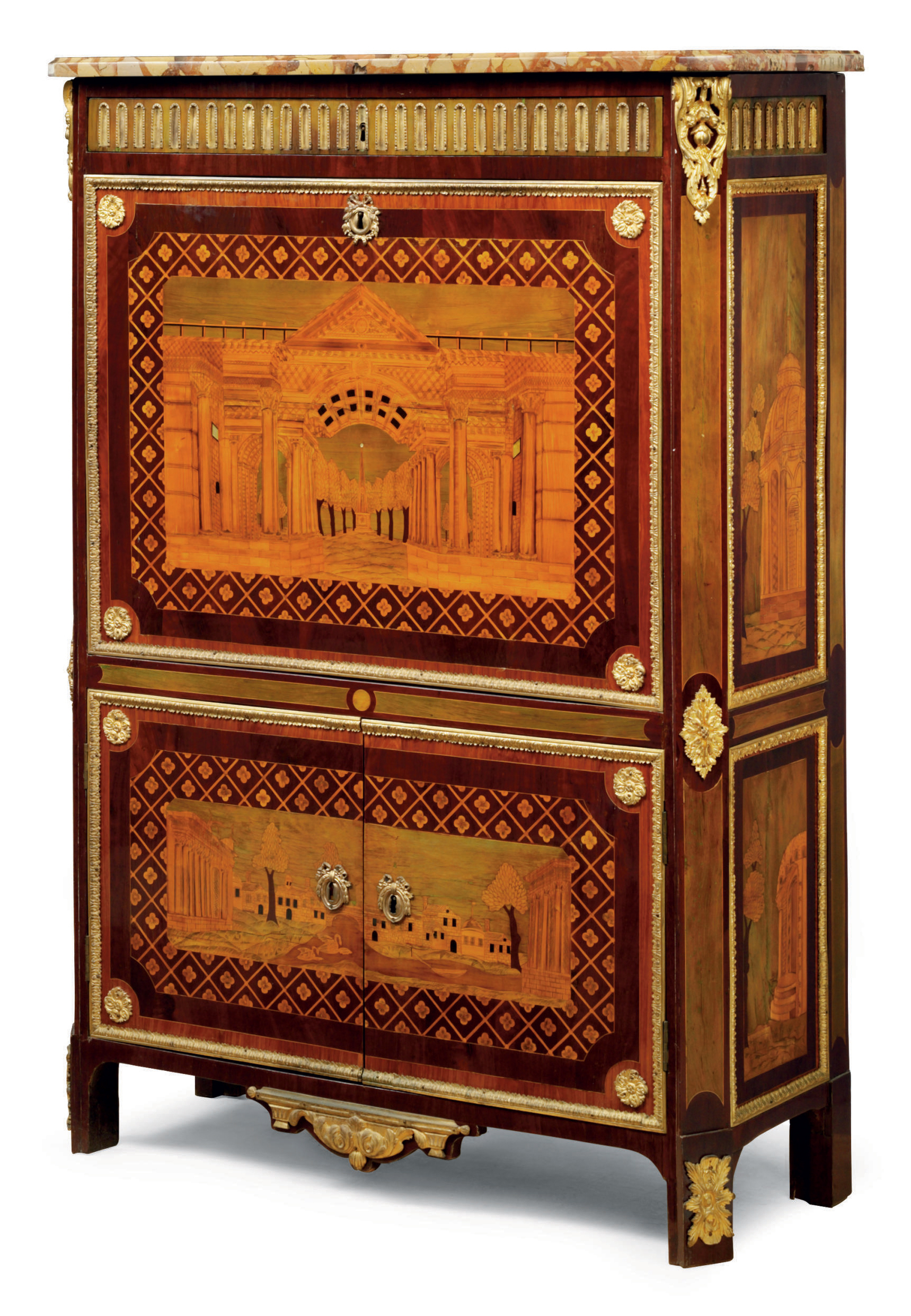 A LOUIS XVI ORMOLU-MOUNTED, MOTHER OF PEARL, AMARANTH, TULIPWOOD, AND MARQUETRY SECRETAIRE A ABATTANT