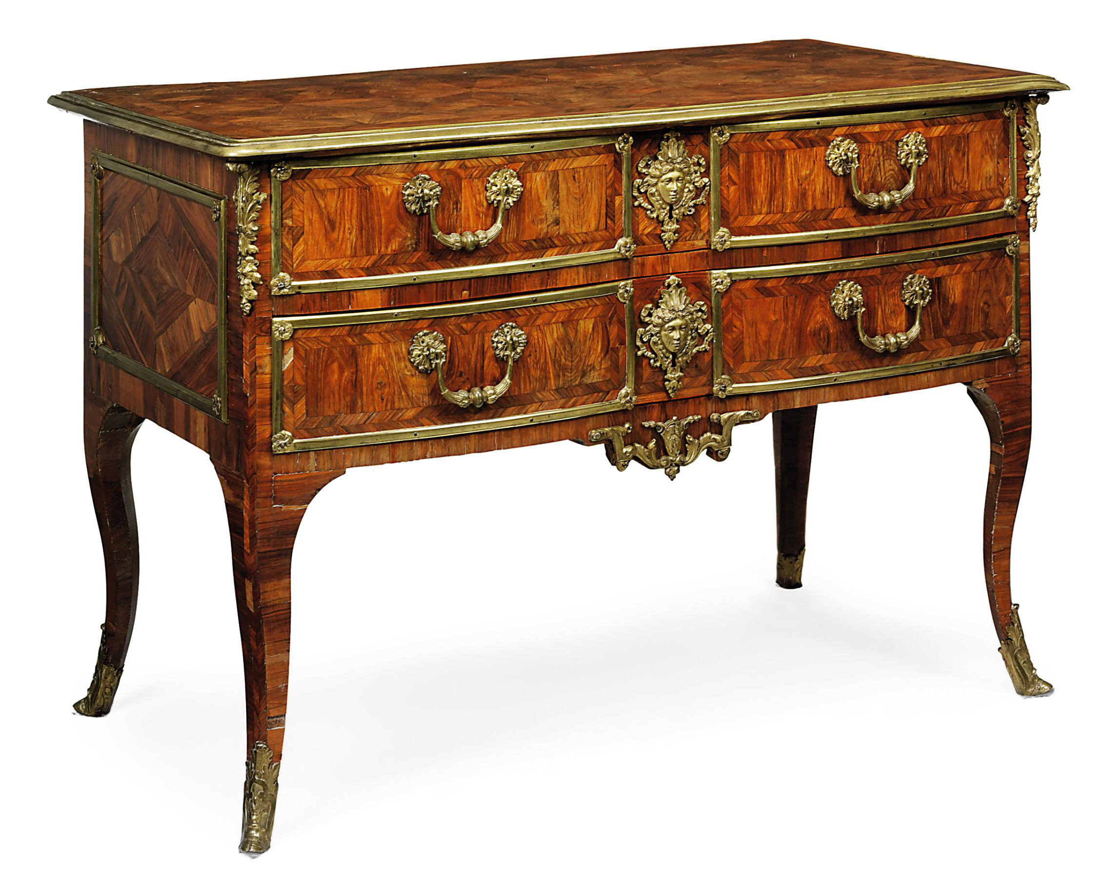 A REGENCE ORMOLU-MOUNTED KINGWOOD AND PARQUETRY COMMODE