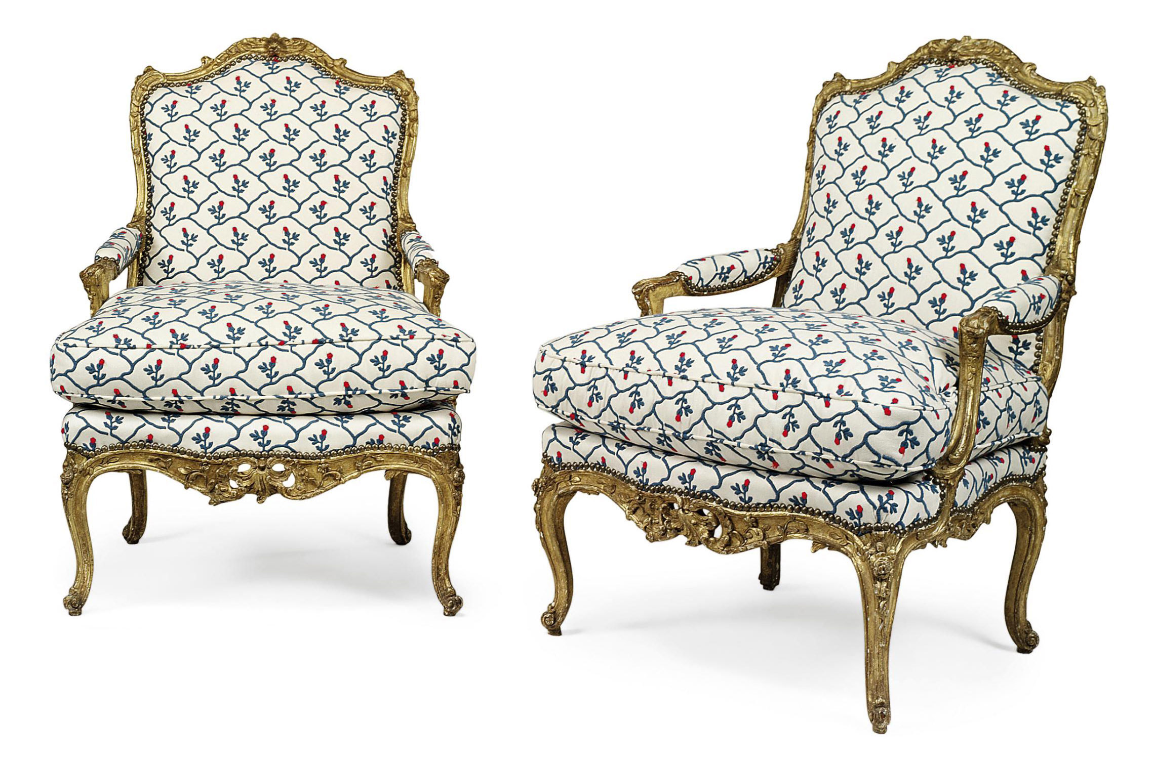 A PAIR OF LOUIS XV GILTWOOD FAUTEUILS