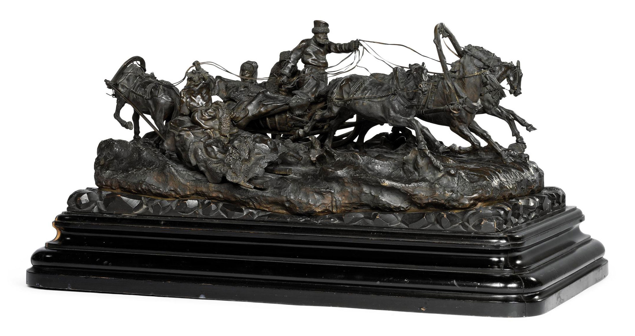 A Russian Bronze Equestrian Group of a Troika Passing a Peasant Sleigh