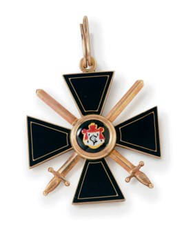A Gold and Enamel Order of St Vladimir Fourth Class