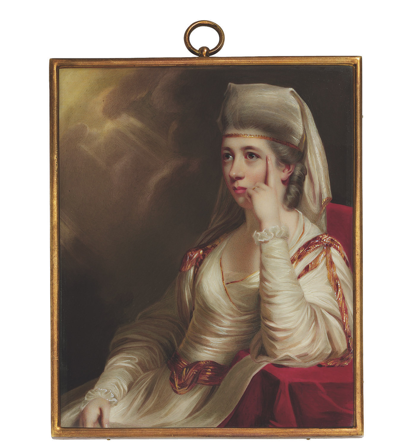 Margaret Georgiana, Countess Spencer, née Poyntz (1737-1814), seated on a red draped chair, one hand raised to her cheek, in a gold-trimmed white dress and gauze head scarf over her powdered hair dressed in ringlets, stormy sky background