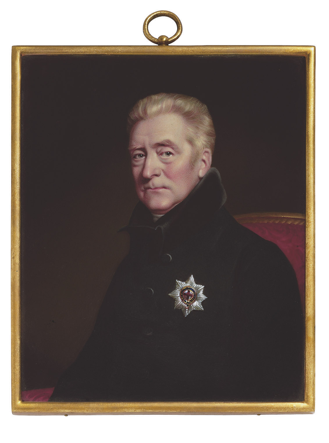 George John, 2nd Earl Spencer, K.G. (1758-1834), seated on a red-upholstered chair, in dark green coat with black collar, wearing the breast-star of the Order of the Garter