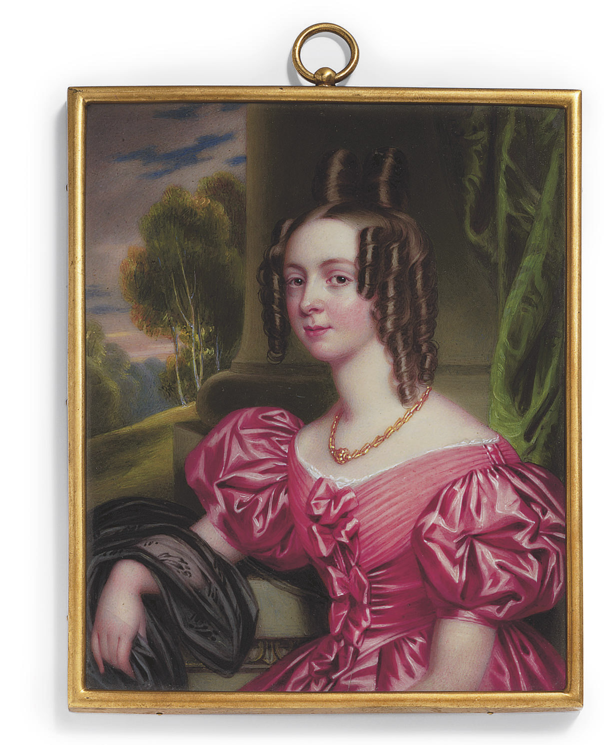 Caroline Lavinia Lyttelton (1816-1902), seated, in pink dress with puffed sleeves, bows adorning the bodice, a black lace wrap draped over her right arm, wearing a gold necklace, dark hair dressed in ringlets; landscape, pillar and emerald-green curtain background