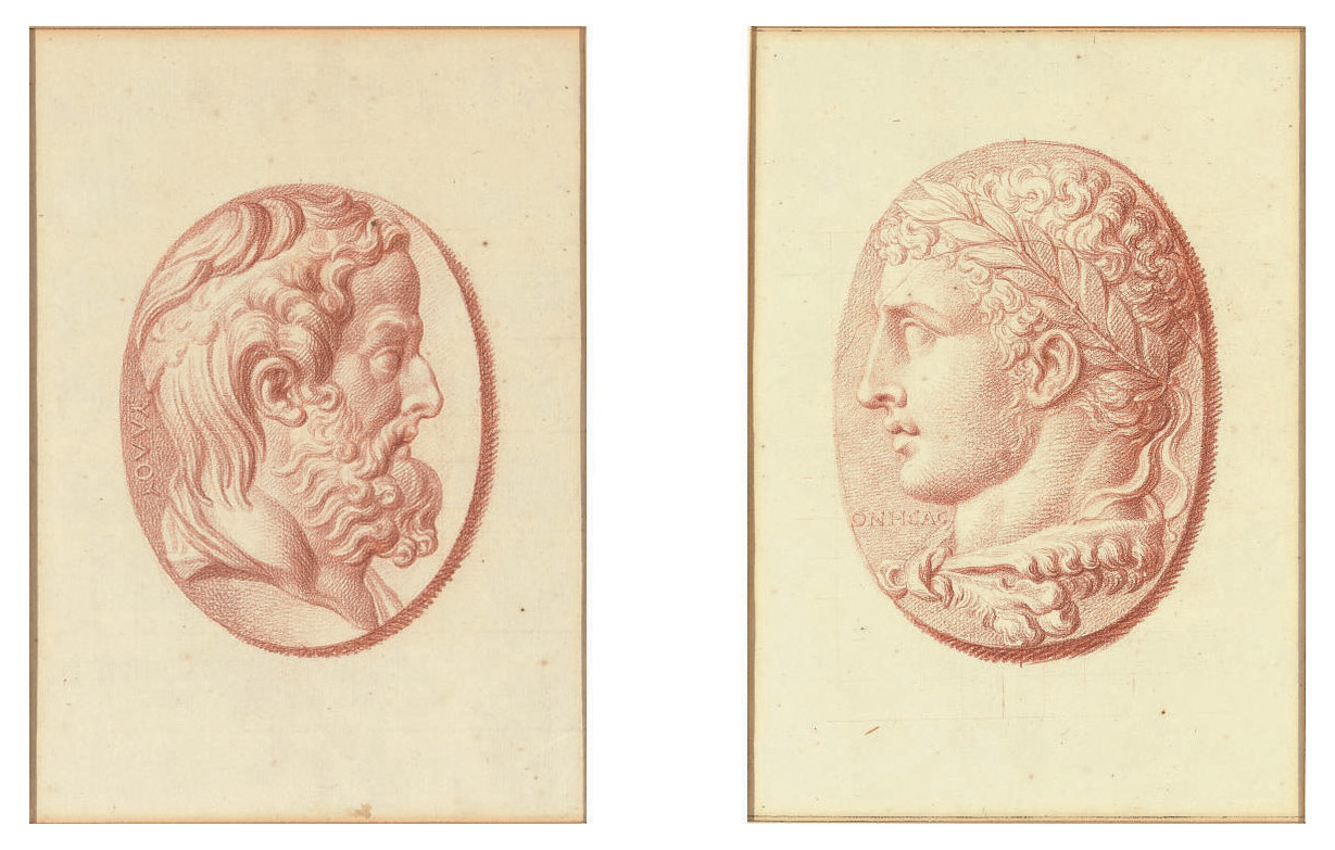 Four studies after cameos, three with classical profile portraits and one with a fragmentary relief of Cupid and two lions drawing a chariot