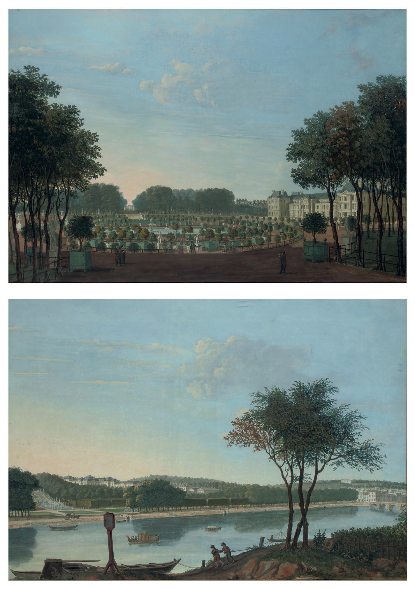 The gardens and façade of the Palais du Luxembourg, Paris; and The gardens and Château de Saint-Cloud seen from the Seine, near Paris