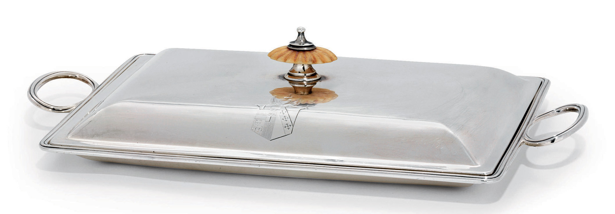 A GEORGE III SILVER BACON-DISH AND COVER