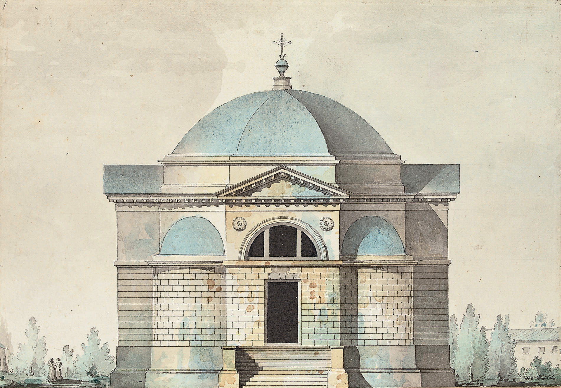 Elevation of the church of the cemetary of Kazan, Tsarskoye Selo