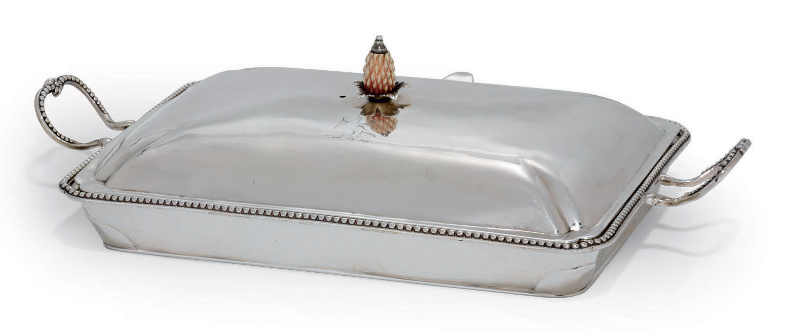 A GEORGE III SILVER CHAFING-DISH AND COVER