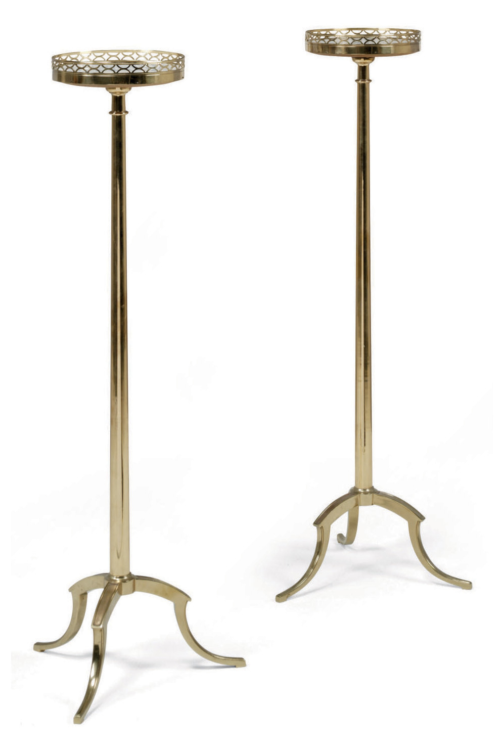 A PAIR OF FRENCH BRASS TORCHERES