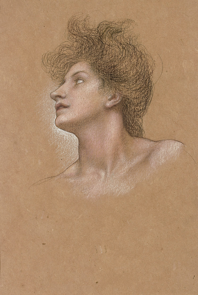 Study of a woman's head, in profile to the right