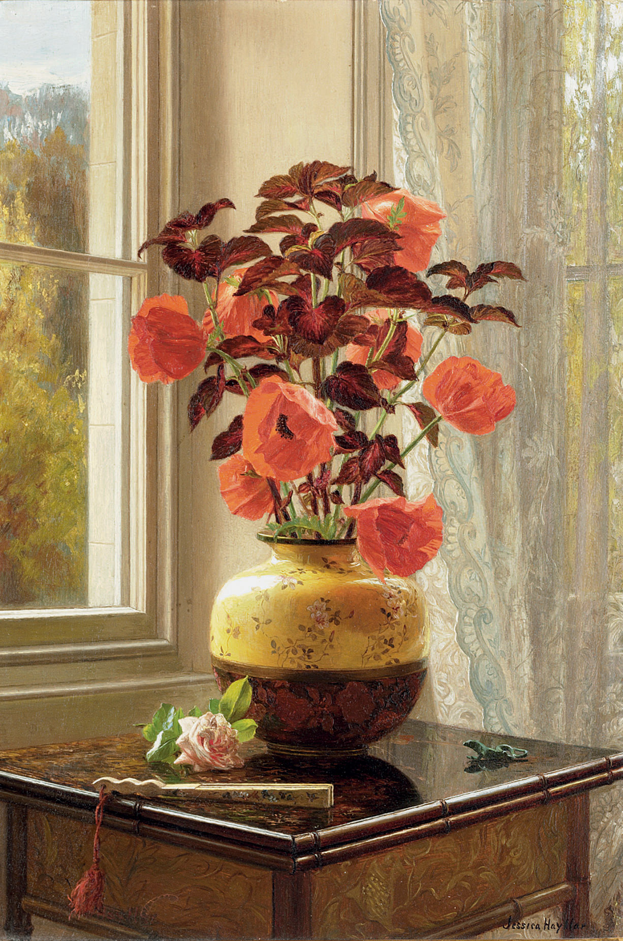 Oriental Poppy and Coleus in a Cloisonné vase, with a fan on a faux bamboo table