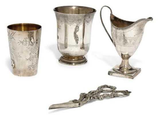 A FRENCH SILVER BEAKER OF 18TH