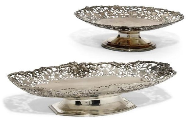 TWO MODERN SILVER DISHES