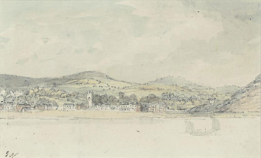 A coastal town viewed from the sea (illustrated); and View of the cliffs